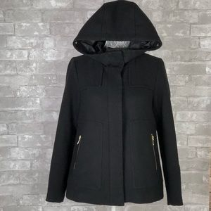 ZARA Outerwear Peacoat Black Zip Up Hoodie Jacket